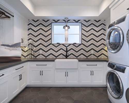 ushaped gray floor dedicated laundry room idea in los angeles with a farmhouse