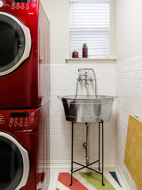 Inspiration For A Timeless Ceramic Floor And White Laundry Room Remodel In Dallas With An