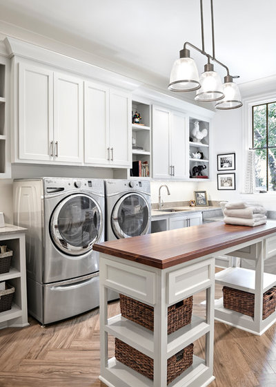 Transitional Laundry Room by Forte Building Group, LLC