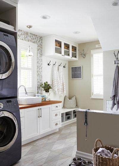 Transitional Laundry Room by Square Footage Inc.