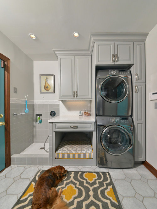 Mid sized elegant single wall porcelain floor and gray floor utility room  photo in. 30 All Time Favorite Laundry Room Ideas   Remodeling Pictures   Houzz