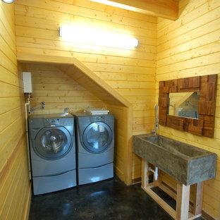 75 yellow concrete floor laundry room ideas explore yellow concrete