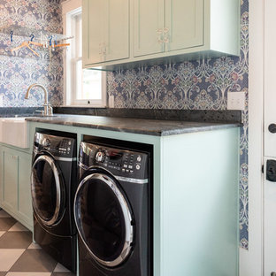 Dedicated laundry room - small eclectic galley porcelain tile and multicolored floor dedicated laundry room idea in San Luis Obispo with a farmhouse sink, shaker cabinets, turquoise cabinets, multicolored walls, a side-by-side washer/dryer and gray countertops
