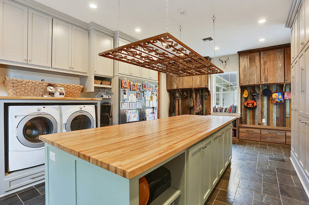 Southwestern Laundry Room by Ourso Designs