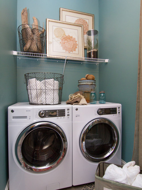 Eclectic Laundry Room Idea In Louisville With Blue Walls And Gray Floors