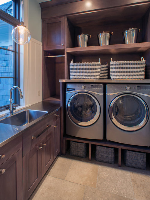 Transitional Laundry Room Idea In Grand Rapids With Shaker Cabinets, Dark  Wood Cabinets, Ceramic