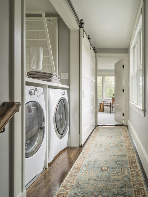Example Of A Small Country Single Wall Laundry Closet Design In Boston With Shaker Cabinets
