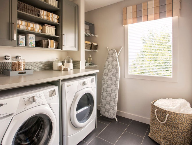 Transitional Laundry Room by Wise Home + Design