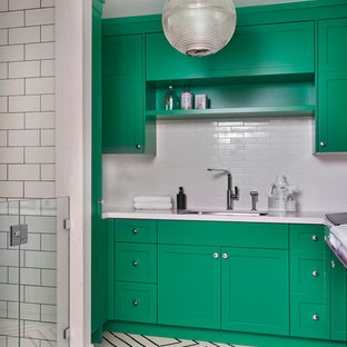 Design ideas for a country utility room in Toronto with an undermount sink, recessed-panel cabinets, green cabinets and white walls.
