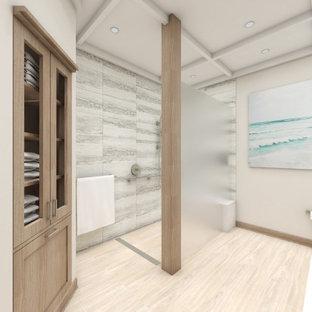 Immagine di una lavanderia multiuso country di medie dimensioni con lavello sottopiano, ante a filo, ante bianche, top in quarzo composito, pareti beige, pavimento in mattoni, lavatrice e asciugatrice affiancate, pavimento rosa e top bianco