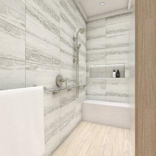 Lantlig inredning av ett mellanstort vit parallellt vitt grovkök, med en undermonterad diskho, luckor med profilerade fronter, vita skåp, bänkskiva i kvarts, beige väggar, tegelgolv, en tvättmaskin och torktumlare bredvid varandra och rosa golv
