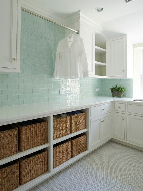 Example Of A Country U Shaped Ceramic Floor And White Dedicated Laundry Room Design