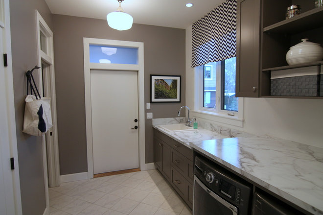 Transitional Laundry Room Finding a Vintage Vibe with New Construction in Kelowna, BC