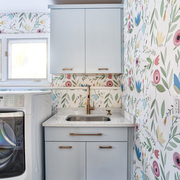 Floral Wallpaper Laundry Room with Blue Vanity