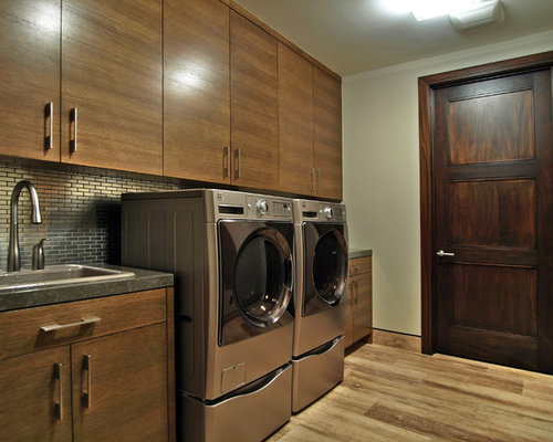 Example Of A Trendy Laundry Room Design In Las Vegas With A Drop In Sink