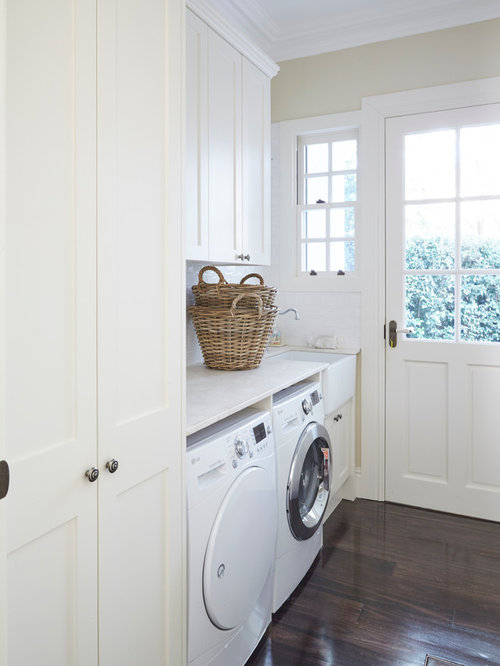 Utility Room Design Ideas Part - 23: Large Traditional Galley Laundry Room In Sydney With A Double-bowl Sink,  Shaker Cabinets