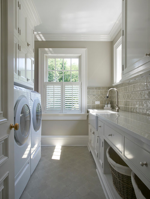 Mid Sized Elegant Galley Ceramic Floor And Gray Floor Dedicated Laundry Room  Photo In New