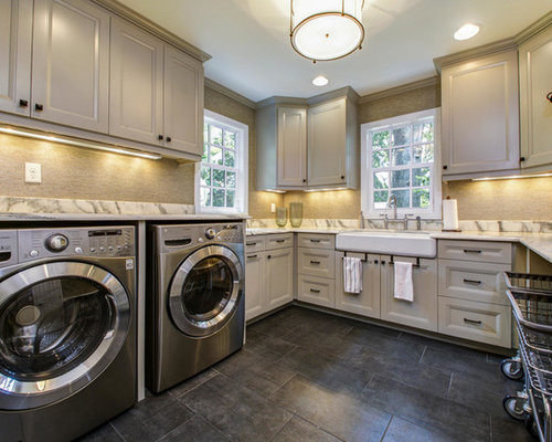 Small Laundry Room Laundry Room Design Ideas, Remodels & Photos with Gray Cabinets