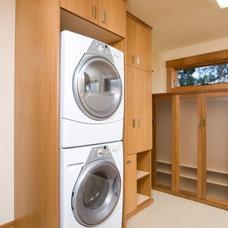 Modern Laundry Room good storage