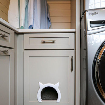 Gray Laundry Room w/ White Shiplap Wall & Kitty Pass Hidden Litterbox in Cabinet