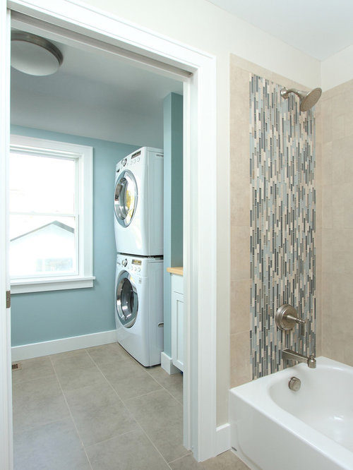 Small bathroom laundry room combo houzz for Small bathroom laundry designs