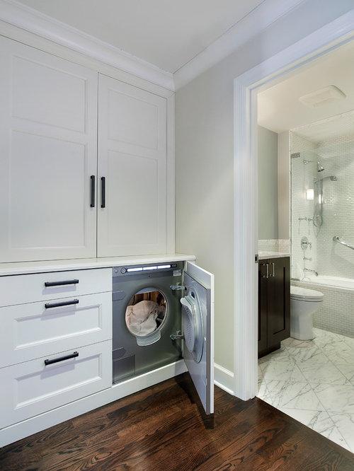 minimalist laundry room photo in chicago