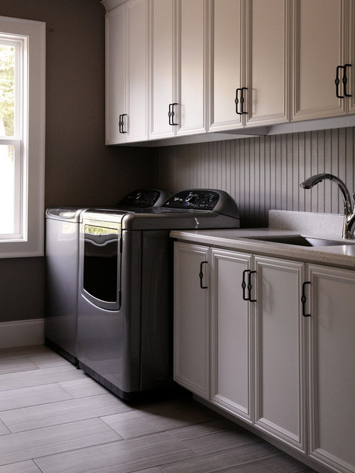 Marvelous Mid Sized Transitional Galley Porcelain Floor Dedicated Laundry Room Photo  In Atlanta With An Undermount