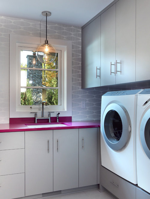 Laundry Room Counters Part - 49: Large Contemporary Single-wall Ceramic Floor And Gray Floor Utility Room  Idea In Grand Rapids