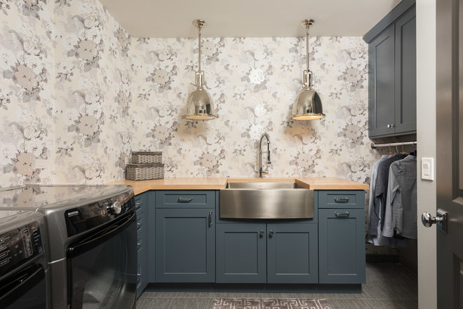 Transitional Laundry Room by A. Perry Homes