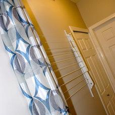 Contemporary Laundry Room Hidden Clothes Line