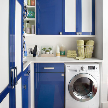 High Gloss Blue Laundry Room - Bronxville, NY