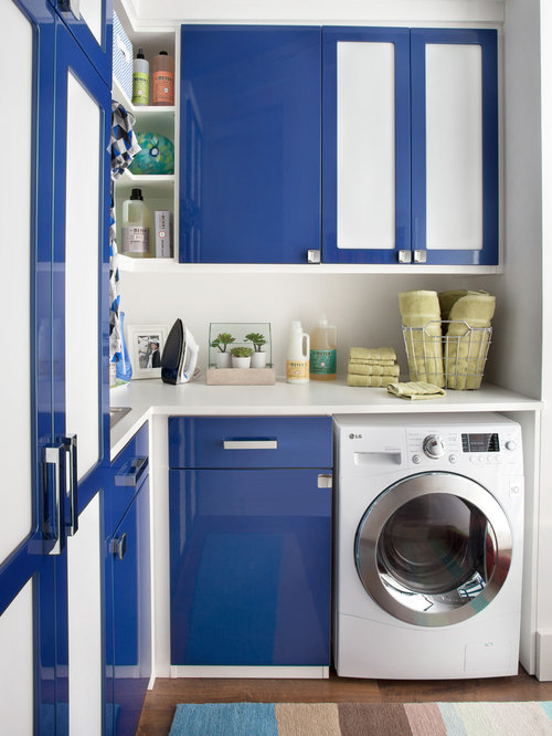Modern Laundry Room Design Ideas, Remodels & Photos with Blue Cabinets