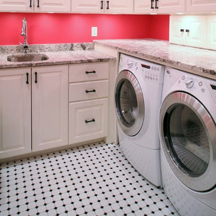 Idéer för att renovera ett mellanstort vintage u-format grovkök, med en undermonterad diskho, luckor med infälld panel, vita skåp, granitbänkskiva, röda väggar, klinkergolv i keramik och en tvättmaskin och torktumlare bredvid varandra