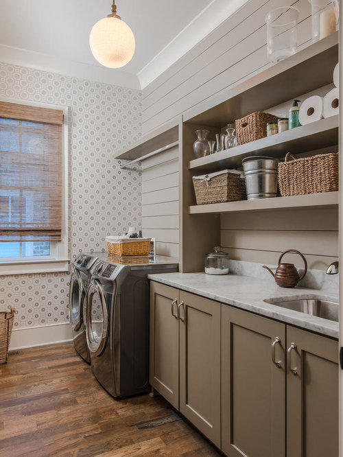 Farmhouse laundry room design ideas remodels photos for Open shelving laundry room