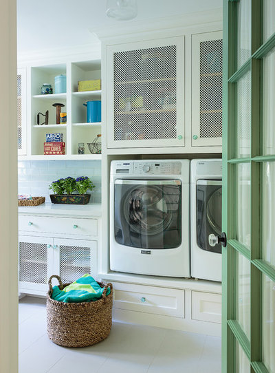 Beach Style Laundry Room by Alison Kandler Interior Design