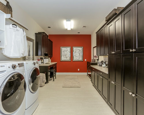 Huge Transitional U Shaped Laminate Floor And Beige Floor Utility Room Idea  In Houston With
