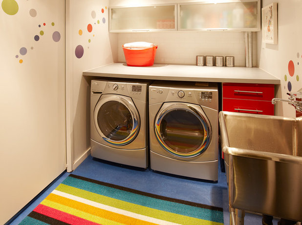 Ideal Modern Laundry Room by Lisa Lev Design Lisa Lev Design Wall decals
