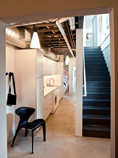 Basement Laundry Room Interior Remodel Unfinished Ceiling Home Design Ideas Pictures Remodel And Decor