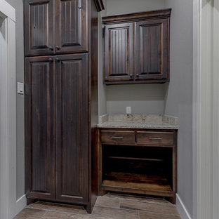 Inspiration For A Small Industrial Galley Ceramic Floor And Brown Floor  Utility Room Remodel In Other