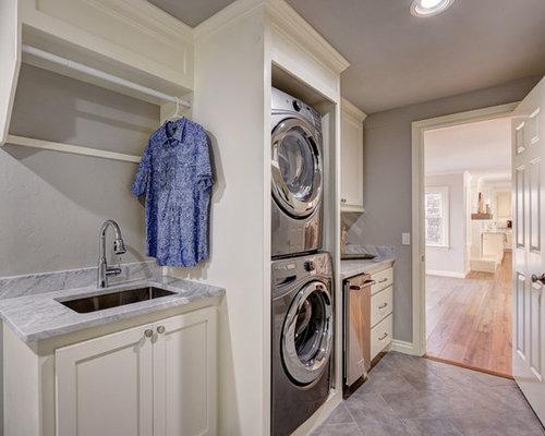 Large transitional single-wall ceramic floor and gray floor utility room  idea in Oklahoma City
