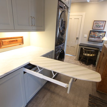 Ironing Board Drawer Hidden Behind Drawer Front in Laundry Room