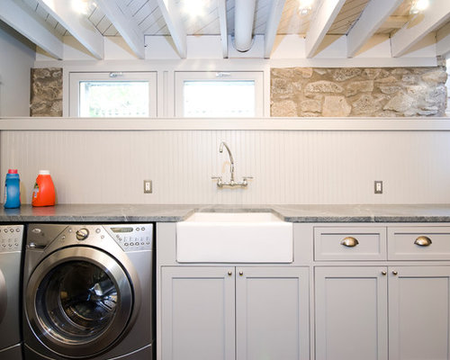 Contemporary Laundry Room Idea In Dc Metro With A Farmhouse Sink And Gray Cabinets
