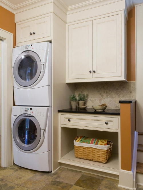 Contemporary Laundry Room Idea In New York With Orange Walls And A Stacked  Washer/dryer Part 51
