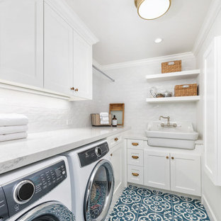 Inspiration For A Small Country L Shaped Ceramic Floor And Blue Dedicated Laundry Room