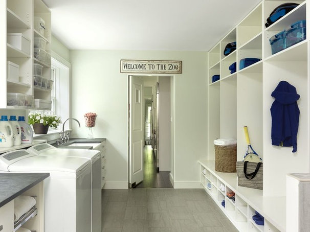 Transitional Laundry Room by Chouteau Building Group, LLC