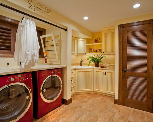 Traditional Laundry Room Idea In Portland With Beige Cabinets And Beige Floors