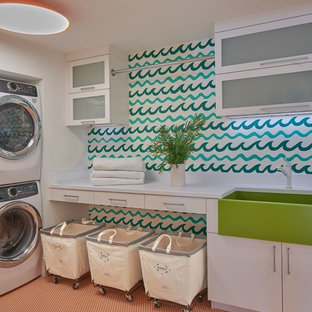 Inspiration for a contemporary laundry room remodel in New York