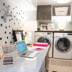 Contemporary Laundry Room With Raised Washer Dryer White