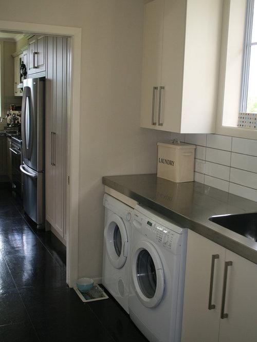 example of a minimalist laundry room design in hamilton