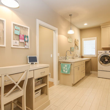 Laundry and desk area